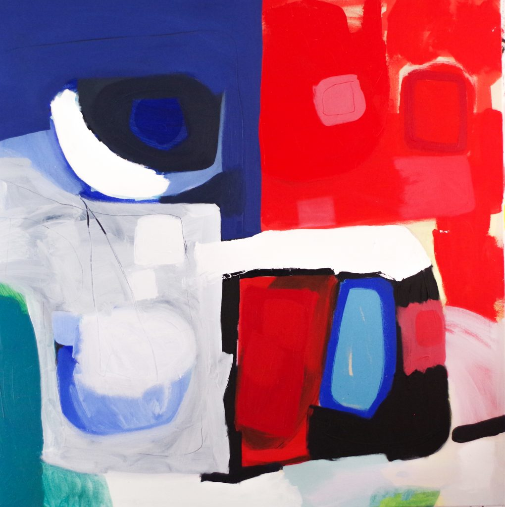 Abstract Artist Martin Jones - 4 faces - oil painting on canvas